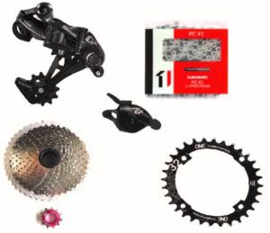 Kit Mono 1x11 Sram Gx/Sunrace 11x46 Argent/One up Ovale 32 dents entraxe (104)
