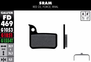 Plaquettes de frein Galfer Bike adaptable Sram Red22 , Force 22 ,Rival 22 ST