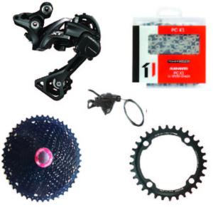Kit Mono 1x11 Shimano RDM8000/Sunrace 11x46 Black/One 34 dents (104)