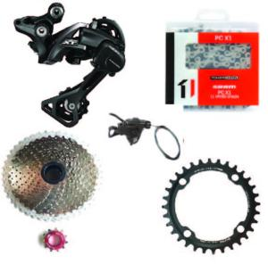 Kit Mono 1x11 Shimano RDM8000/Sunrace 11x46 Argent /One 30 dents entraxe (96)
