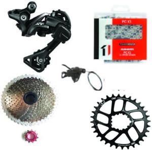 Kit Mono 1x11 Shimano RDM8000/Sunrace 11x46 Argent /One UP Ovale 32 dents Direct Mount (CINCH)